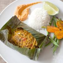 Meen Pollichathu: Banana Leaf Grilled Okanagan Raised Arctic Char with a Keralan Spice Marinade